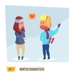 Winter characters set vector image