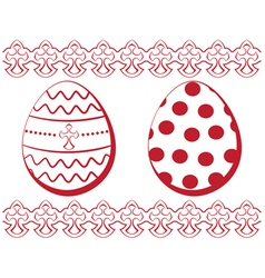 Easter set Eggs with a pattern and a border vector image vector image