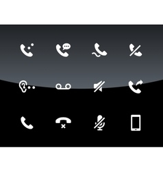 Phones related icons on black background vector image