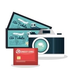 set vacation credit card camera and tickets vector image
