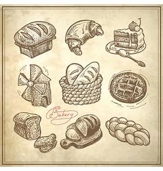 digital drawing bakery icon set vector image