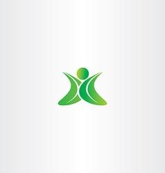 eco green leaf man logo yoga sign vector image vector image