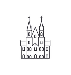 gothic castle line icon sign vector image vector image