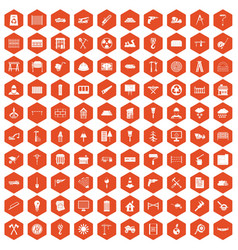 100 building materials icons hexagon orange vector