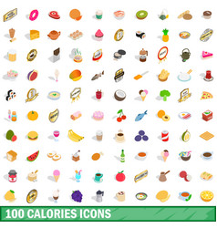 100 calories icons set isometric 3d style vector