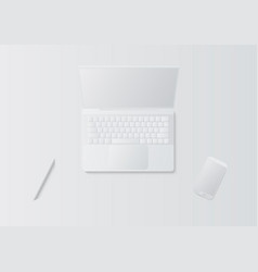 3d white abstract laptop pen and smartphone vector image