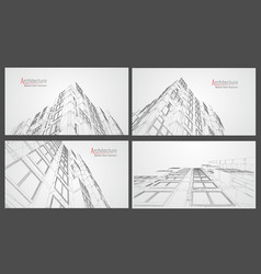 Architecture wireframe background set building vector