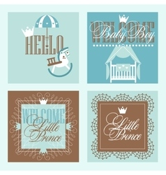 Baby boy Shower Greetring Cards Design vector