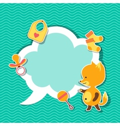 Background photo frame with little cute baby fox vector