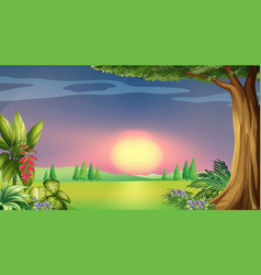 Background scene with sunset in park vector