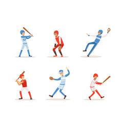baseball players set cheerful softball athletes vector image