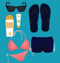 beach items set vector image