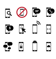 black and white mobile flat design icon cellphone vector image