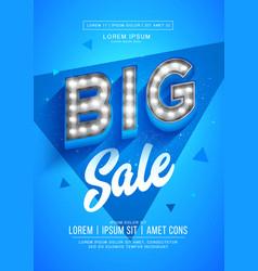 blue big sale poster or flyer design retro light vector image