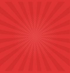 bright red rays background comics pop art style vector image