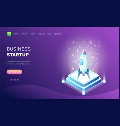 business startup rocket on pedestal spaceship vector image