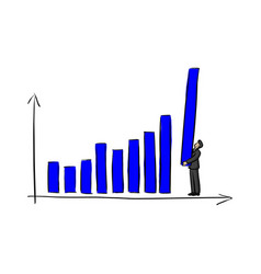 businessman holding blue bar chart vector image