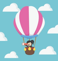businesswoman in hot air balloon EPS10 vector image