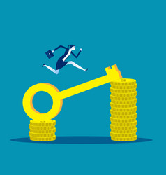 Businesswomen earn more money investment key vector