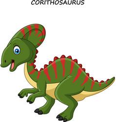 cartoon happy corythosaurus vector image