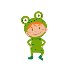 Child Wearing Costume of Frog vector image