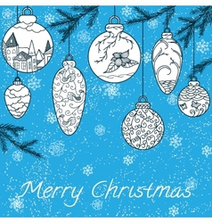 Christmas hand-drawn card vector image