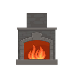 classic burning fireplace made of bricks vector image