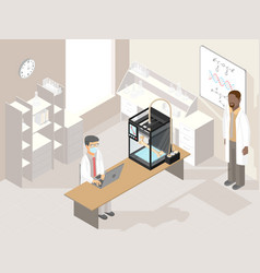 clinic laboratory with medical 3d printer vector image