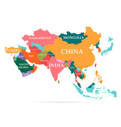 colorful map asia continent vector image