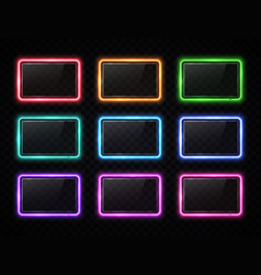 colorful neon square signs set with glass texture vector image