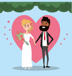 Couple married with heart and bouquet flowers vector