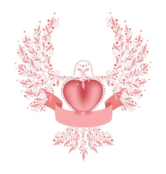 Decorative dove with ribbon vector image