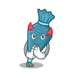 Devil pastrybag mascot cartoon style vector