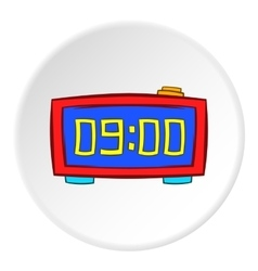 Digital alarm clock icon cartoon style vector