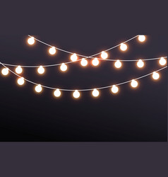 Fairy lights on dark background vector