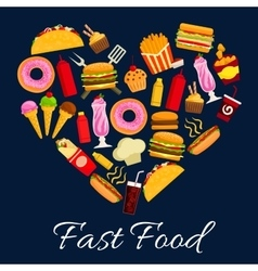 Fast food meal in heart shape symbol vector image