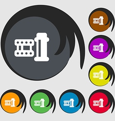 film Icon sign Symbols on eight colored buttons vector image