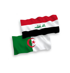 Flags iraq and algeria on a white background vector