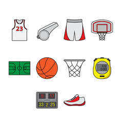flat color basketball icon set vector image