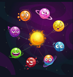 funny cartoon fantasy solar system with colorful vector image