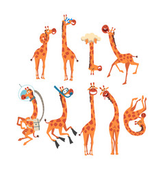Funny giraffe collection crazy african animal vector
