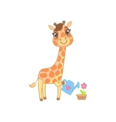 Giraffe Watering The Flowers vector