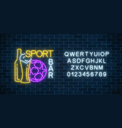 glowing neon sport bar concept with alphabet vector image