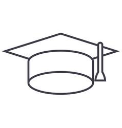 graduation cap line icon sign vector image