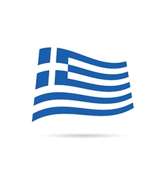 greece flag hellas on wind in colorful vector image