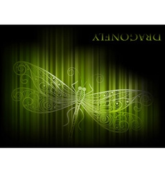 Green dragonfly and stripes vector