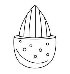 half shell almond icon outline style vector image