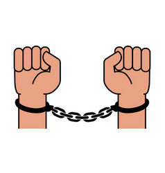 handcuffs on the hands of the criminal vector image
