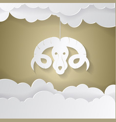 Horoscope paper cut style concept for aries vector