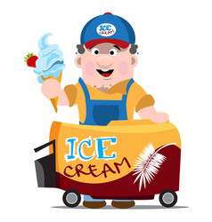 Ice cream seller professions color cartoon vector